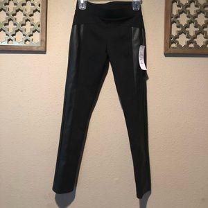 BCBG black leggings - with leather detail